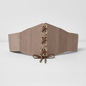 Nude lace-up front belt