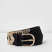 Black wavy keeper gold tone buckle belt