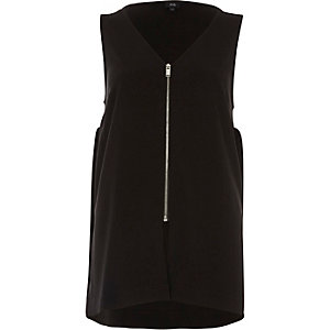 Black zip front v neck loose fit vest