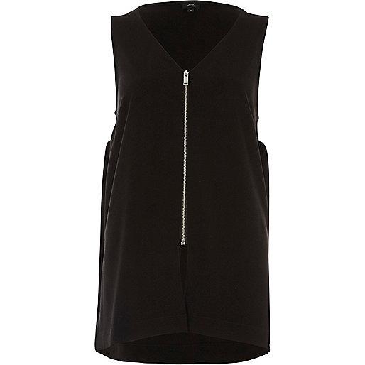 Black zip front v neck loose fit tank