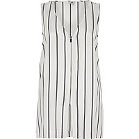 Cream  stripe print zip front vest
