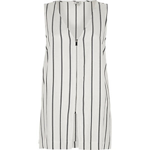 Cream  stripe print zip front vest