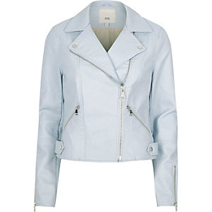 Light blue faux leather biker jacket