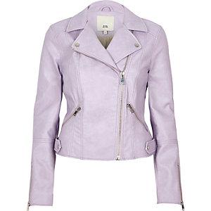 Perfecto en cuir synthétique violet clair