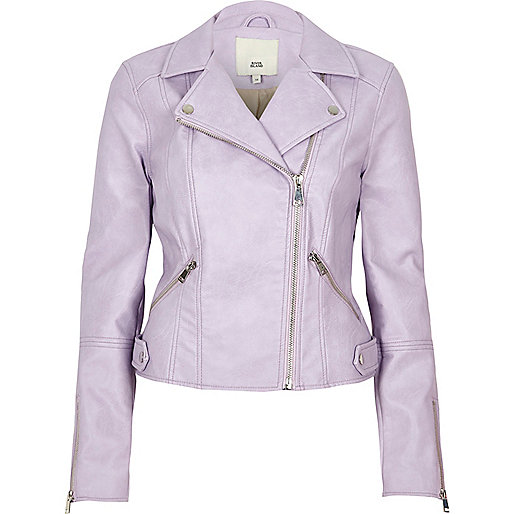 Light purple faux leather biker jacket