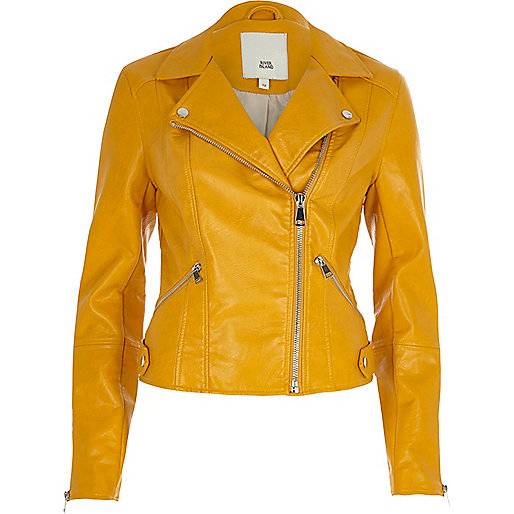 Mustard yellow faux leather biker jacket