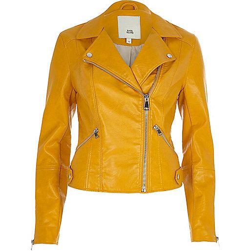 Mustard yellow faux leather biker jacket - Jackets