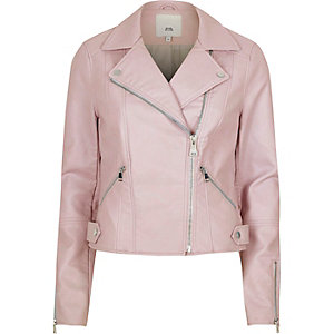 Light pink faux leather biker jacket