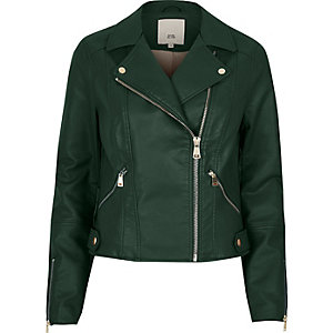 Dark green faux leather biker jacket