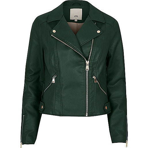Dark green faux leather biker jacket
