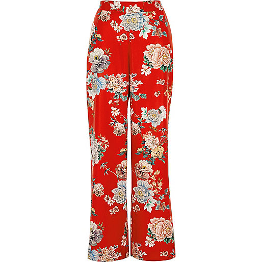 Red floral wide leg trousers