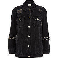 Veste en jean noire délavée oversize à œillets