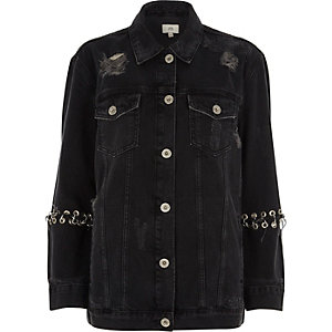 Black washed eyelet oversized denim jacket