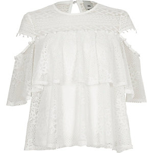 White lace frill button detail top