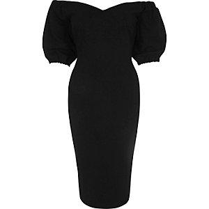 Schwarzes figurbetontes Bardot-Kleid mit Herzausschnitt