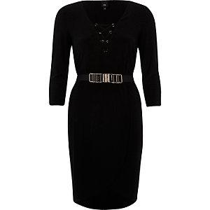 Bodycon-Kleid mit Schnürung und Gürtel