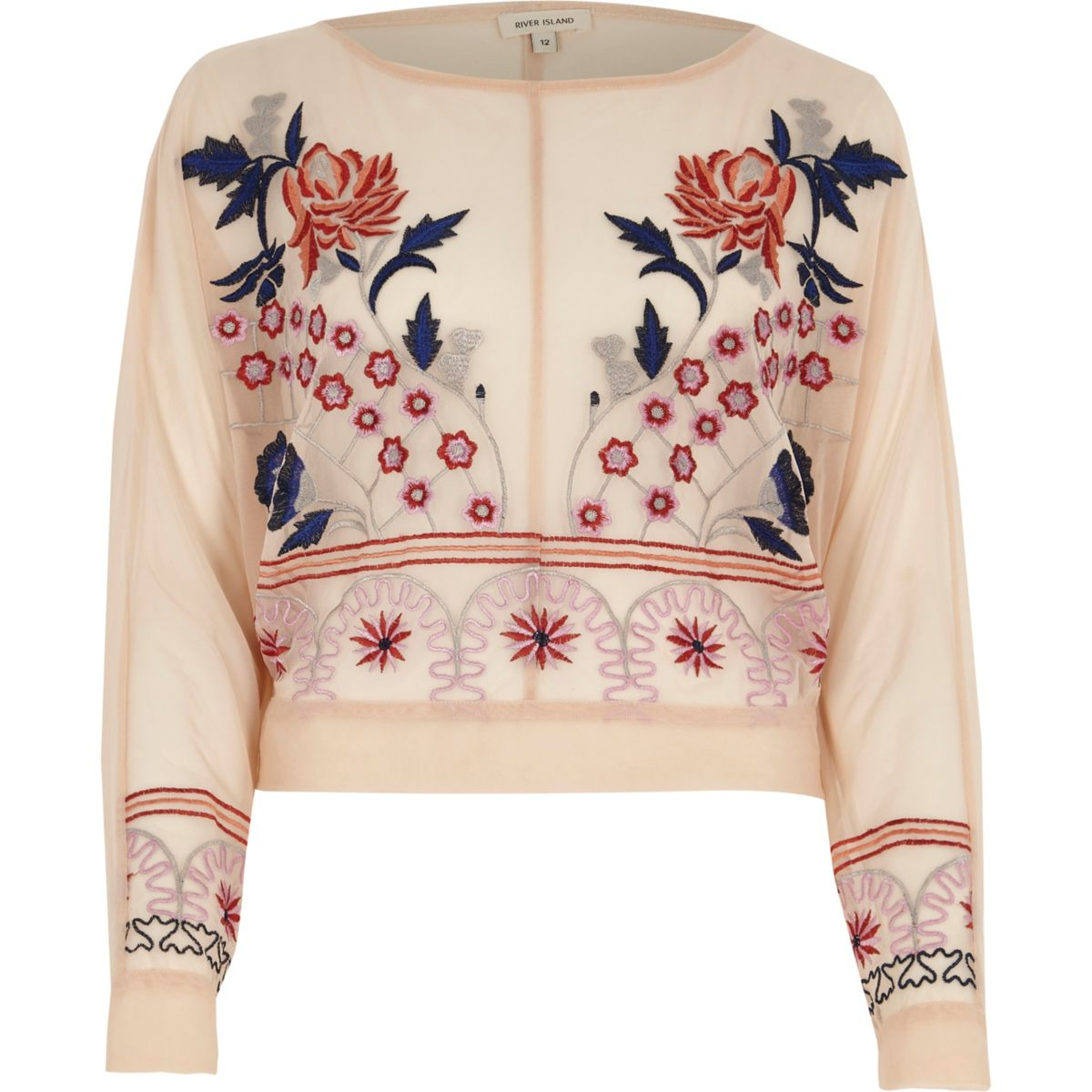 Light pink floral embroidered batwing top