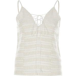 Cream lace-up cami top