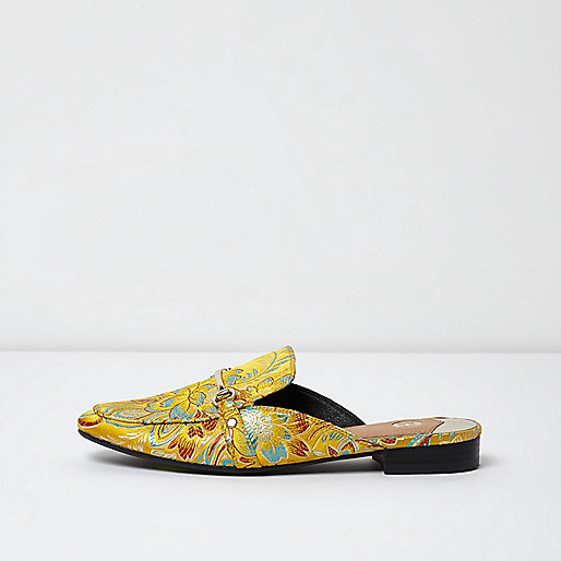 Yellow floral print snaffle backless loafers