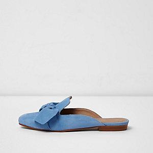 Blauwe loafer zonder hiel met suède strik voor