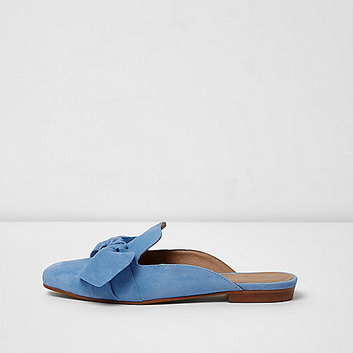 Blue suede bow front backless loafer