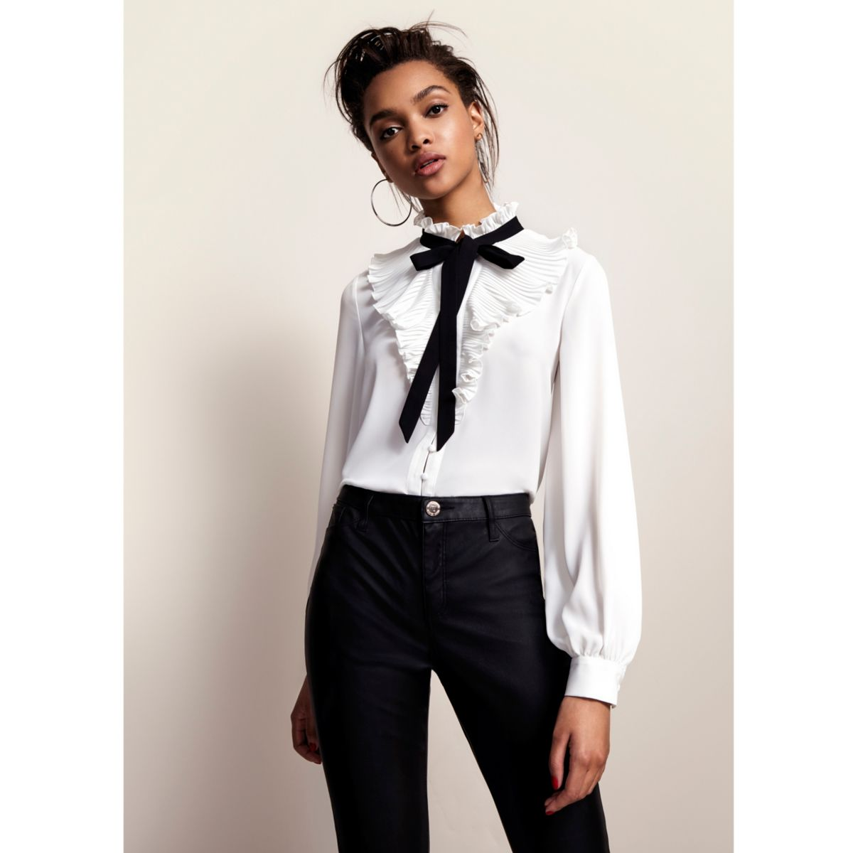 White frill neck pussybow blouse