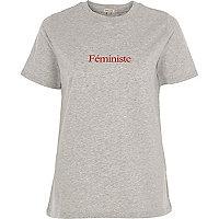 T-shirt «féministe» gris chiné