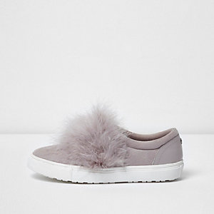Grey wide fit fluffy slip on plimsolls
