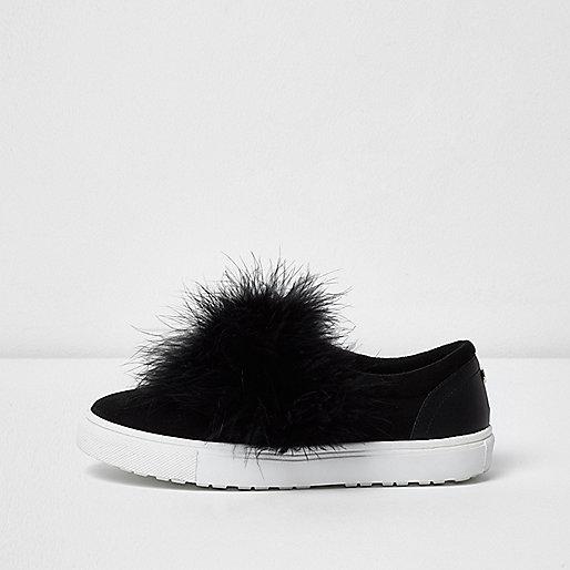 Black wide fit fluffy slip on plimsolls