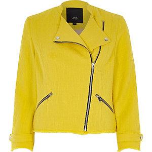 Gelbe Bikerjacke aus Bouclé