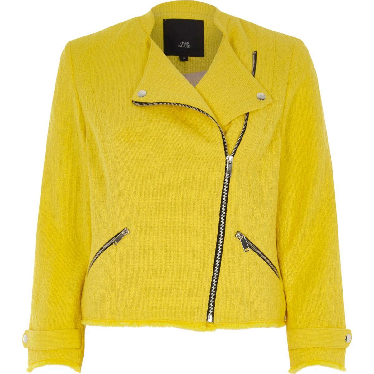 Yellow Boucle Biker Jacket - Coats & Jackets - Sale - Women