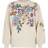 Cream floral embroidered jumper
