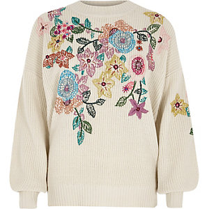 Cream floral embroidered jumper