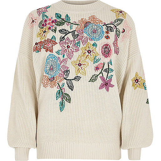 Cream floral embroidered sweater