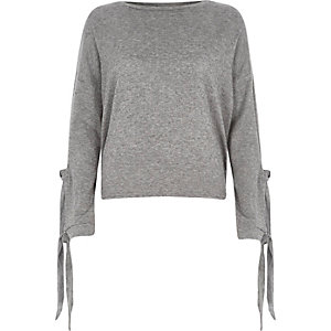 Grey knit tie sleeve top