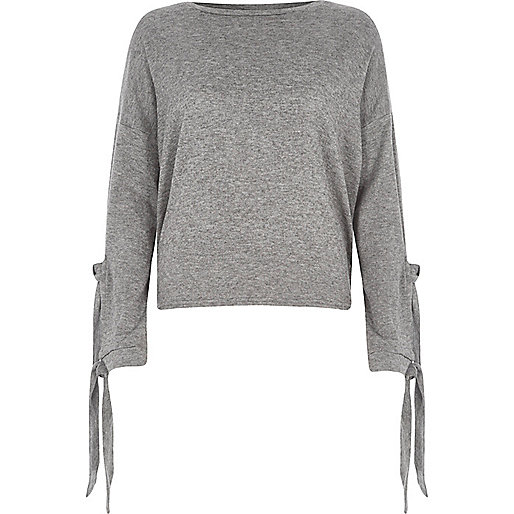 Grey knit tie sleeve top