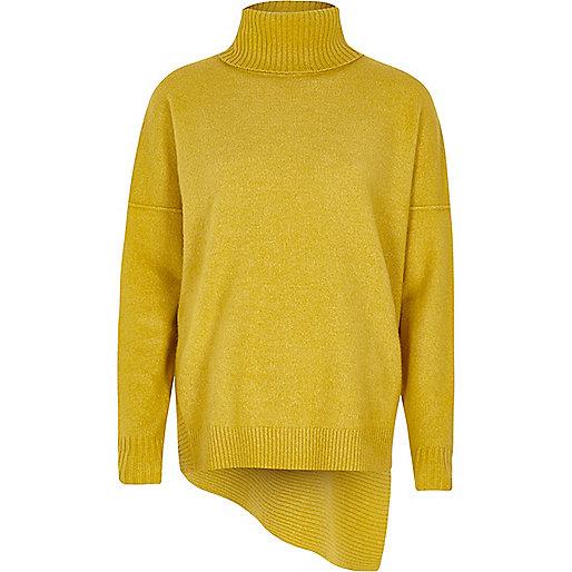 Lime green asymmetric hem roll neck sweater