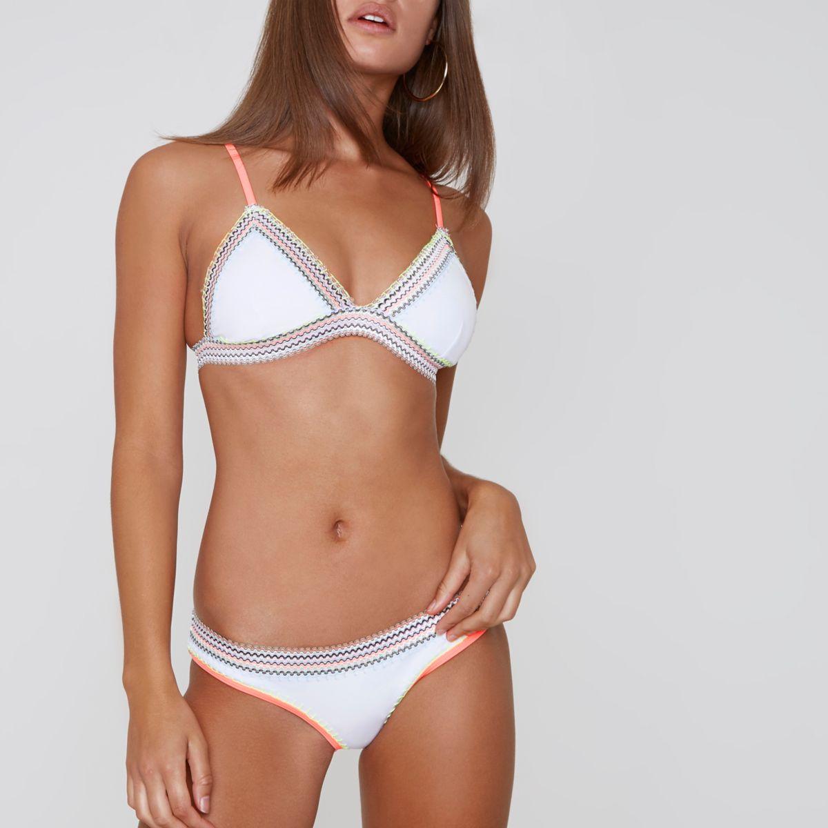 White saddle stitch bikini bottoms