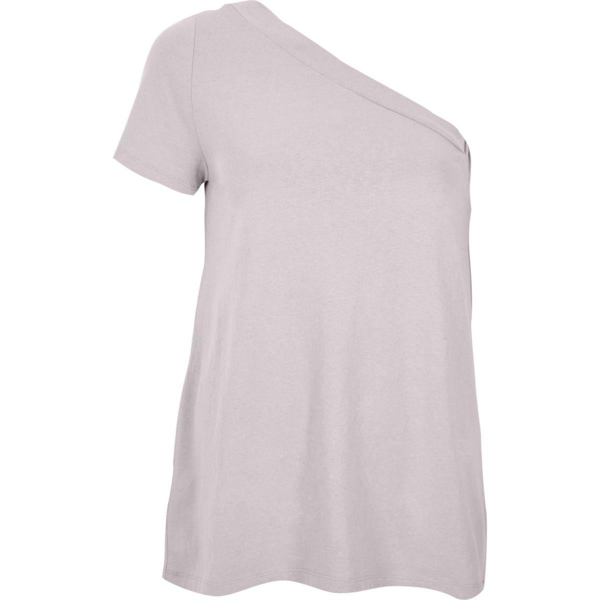 Light purple one shoulder short sleeve top