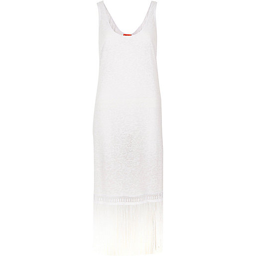 White burnout fringe trim vest dress