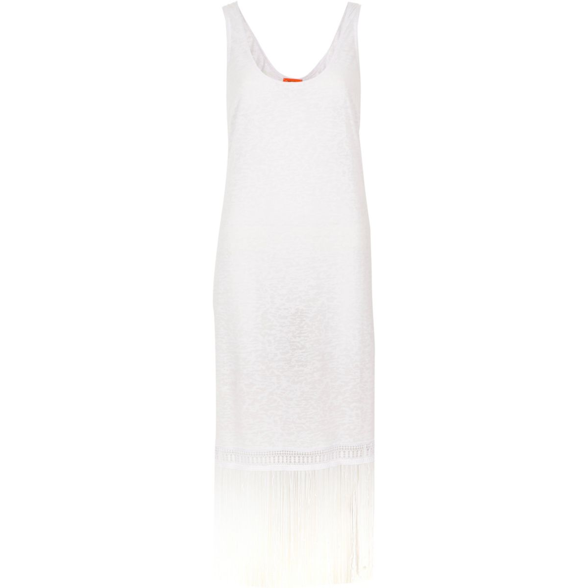 White burnout fringe trim vest dress