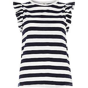 Navy stripe frill sleeve T-shirt