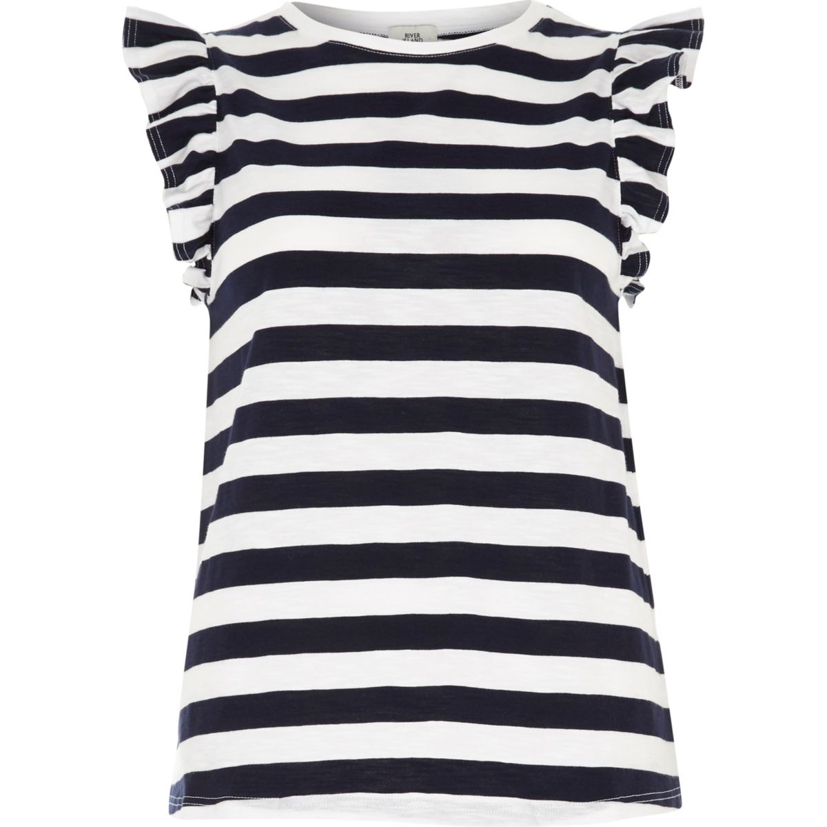Navy stripe frill sleeve T-shirt