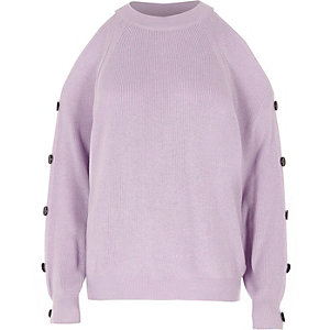 Light purple knit cold shoulder sweater