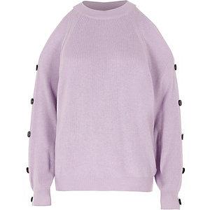 Pull en maille violet clair à épaules dénudées