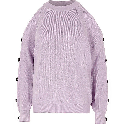 Light purple knit cold shoulder jumper