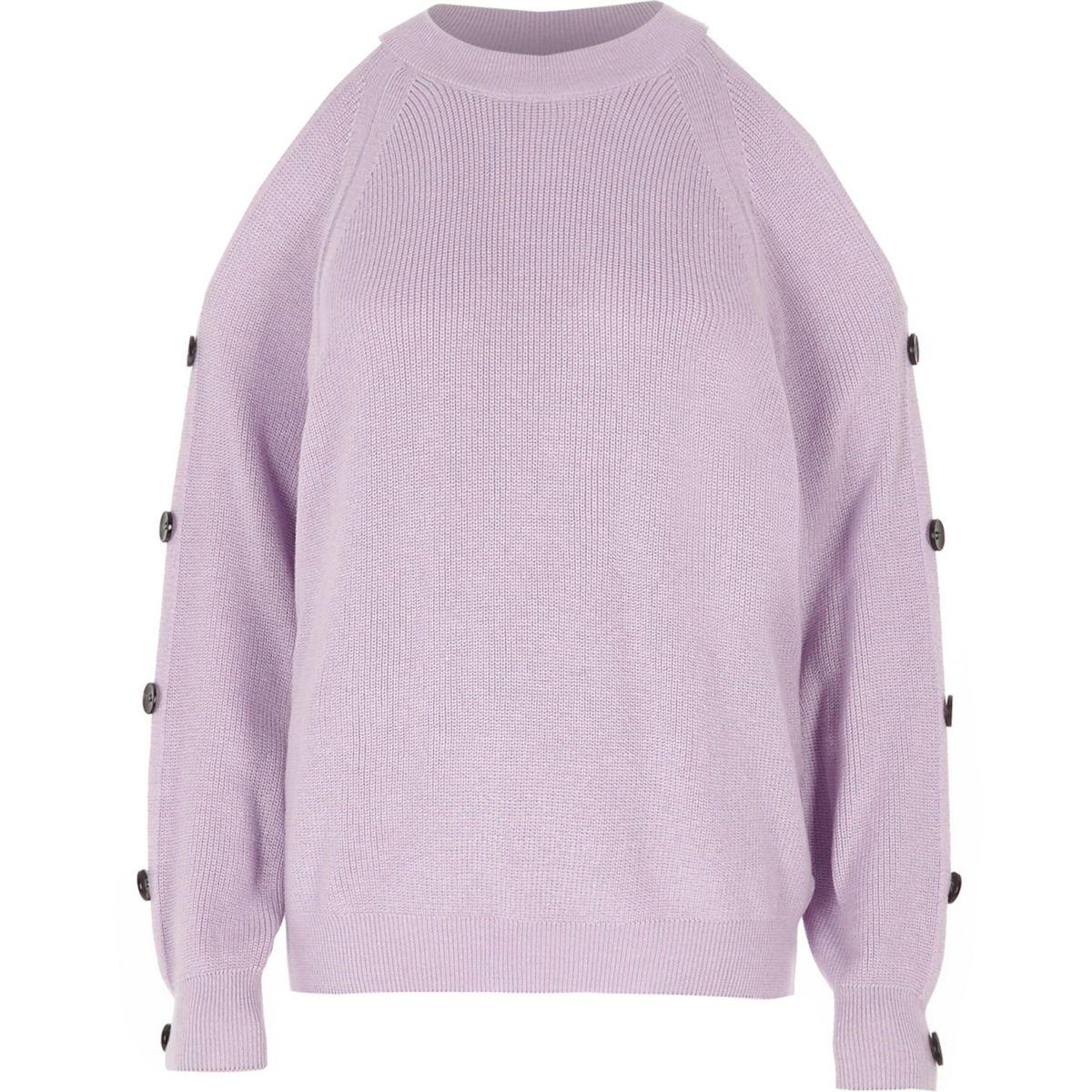 Light purple knit cold shoulder jumper