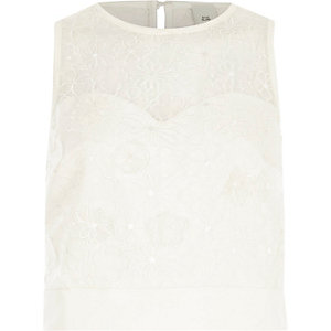 White floral lace applique crop top