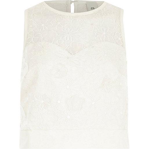 White floral lace applique crop top