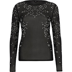 Black sheer faux pearl mesh long sleeve top